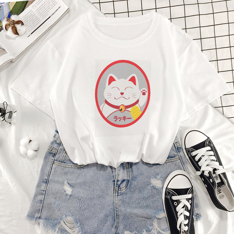 Cute Style Lucky Cat Tshirt Elf Is Beckoning Print Graphics Women T Shirt Harajuku Clothing Tshirt Short Sleeve T-shirt Female