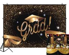 Fabric Class Graduation Prom Photography Backdrop Black and Gold Bachelor Cap Ribbon Grad Celebration Tapestry(China)