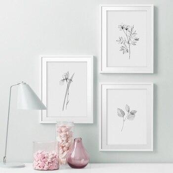 Black White Hand Drawn Plantas Nórdicos Cartazes E Impressões Da Parede Da Pintura da Lona Arte Da Parede Pictures Para Sala de estar Bed Room decoração