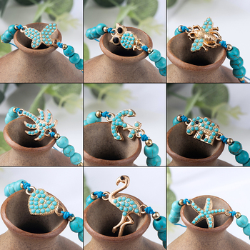 Bohemian Blue Acrylic Beads Ankle Bracelet for Women Leg Chain Coconut Tree Flamingo Anchor Electrocardiogram Owl Animal Anklet