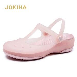 Image 1 - Zuecos de verano transpirables para mujer, pantuflas dulces, sandalias de gelatina, calzado para jardín