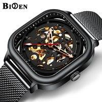 BIDEN Top Marca de Luxo Homens Automática Relógios Mecânicos Relógios Multifuncionais Masculinos Cinta de Malha Preta À Prova D' Água relogio masculino|Relógios esportivos| |  -