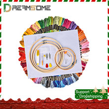 50/100 Color Skeins Embroidery Cross Stitch Thread Hoop Kit Knitting Craft Set DIY Sewing Accessories Handcraft Needlework