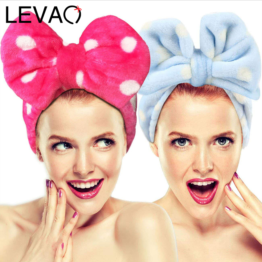 Levao Polka Dot Coral Fleece Wash Face Bow Hairband For Women Girls Turban Headband Bownot Elastic Hair Band Hair Accessories