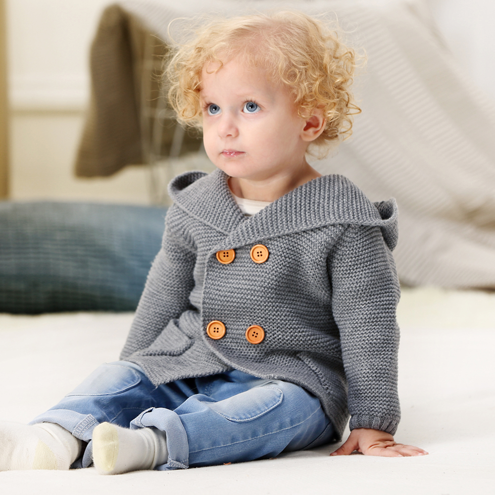 Image 3 - Baby Girl Sweater Winter Cartoon Bear Newborn Boys Cardigan Autumn Grey Toddler Knitted Jackets Long Sleeves Infant Knitwear Top-in Sweaters from Mother & Kids