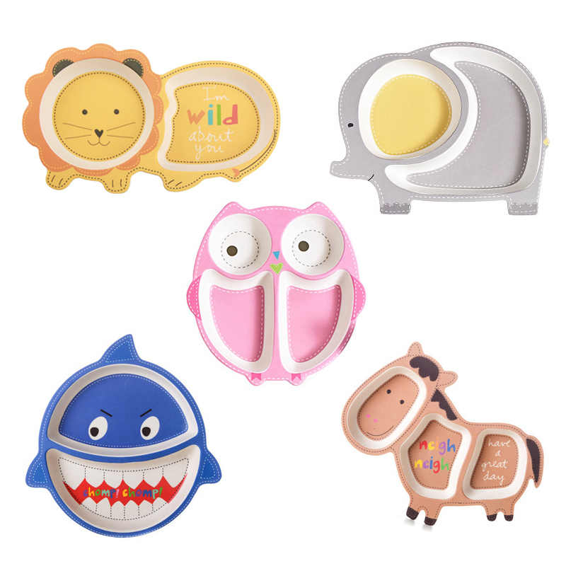 Baby Kids Natural Bamboo Fiber Bowls Cute Cartoon Animal Dishes Baby Feeding Tableware Irregular Children Toddler Portable Plate
