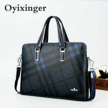 2020 New Men Top-Handle Bags Leather Men's 14-inch Laptop Bags Office Bags For Male Handbag Briefcase Plaid Pattern Business Bag(China)