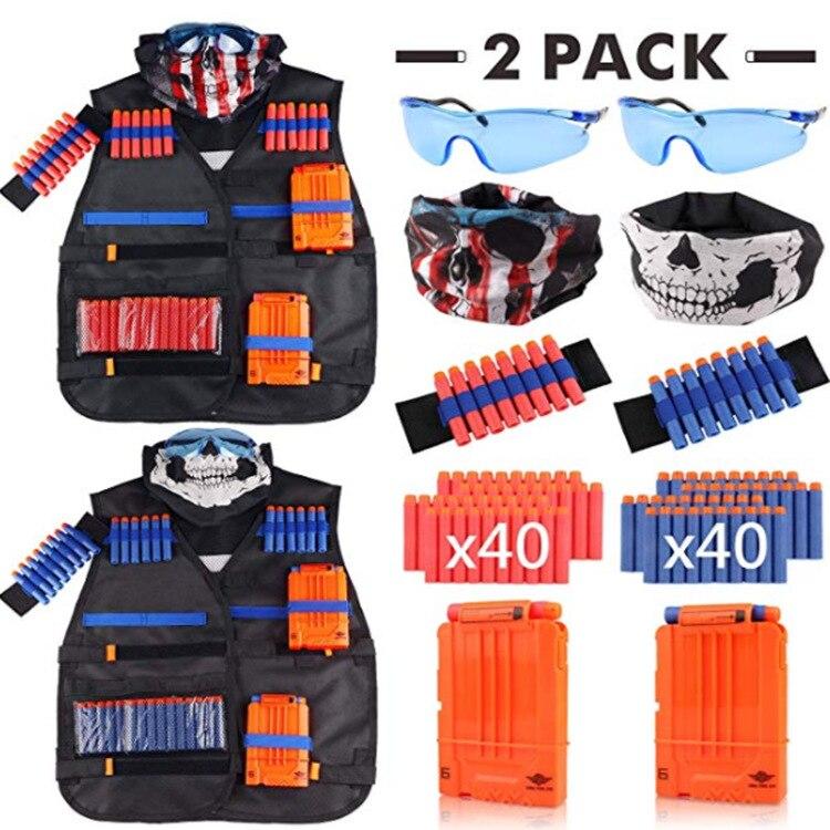 2 упаковки детских тактических жилетов, костюмов, держателей, пистолетов, игрушечных пуль, прищепок, Дартс для игр на открытом воздухе, игруш...