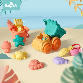 BabyGo Soft Silicone Beach Toy For Children Bucket Tool Rake Hourglass Outdoor Play Sand Tool Set Kids Baby Bath Toy