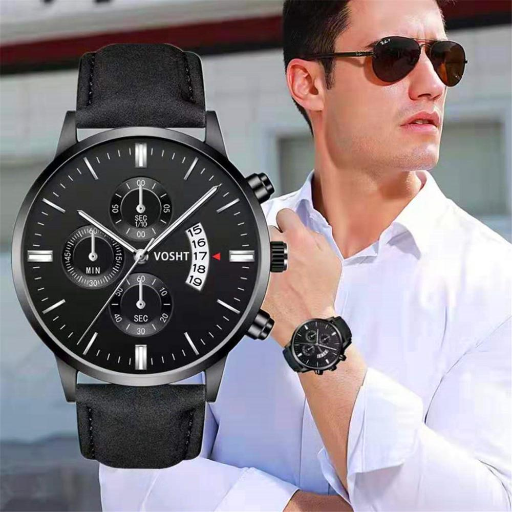 Relogio Masculino Analog Date Watches Men Fashion Sport Stainless Steel Case Leather Band Watch Quartz Business Wristwatch Male