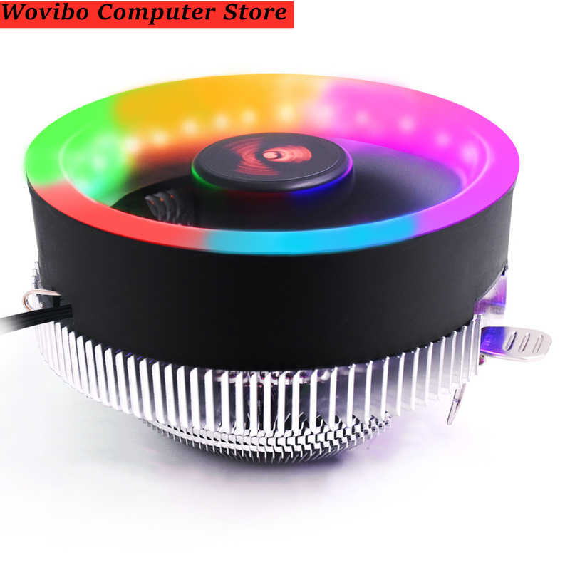 Heatsink CPU Cooler Kipas Pendingin Radiator untuk Intel LGA 1150 1155 1156 775 1366 AMD AM2 AM2 + AM3 AM3 + AM4 3 Pin RGB CPU Cooler