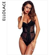 Ellolace Bodycon Mesh Bodysuit Women Patchwork Female Transparent Bodys Femlae Fitness Overalls Black Sexy 2019 New