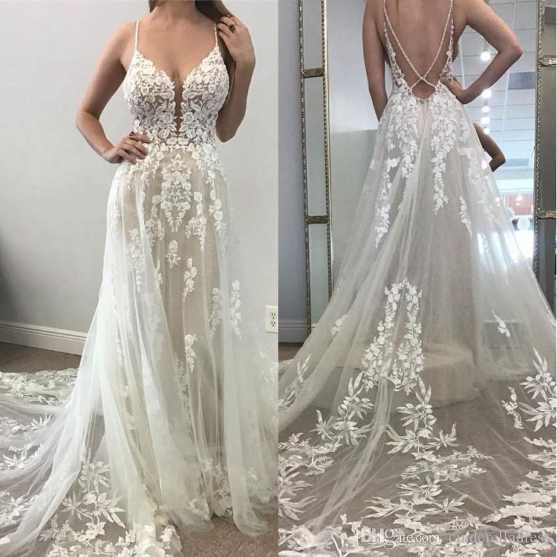 2020 Sexy Beach A Line Wedding Dresses Illusion Tulle Backless 3D Lace Appliqued Bridal Gowns Plunging V Neck Boho Wedding Dress
