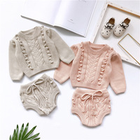 baby clothes set pullover gray pink sweater + shorts sweet infant baby clothing set