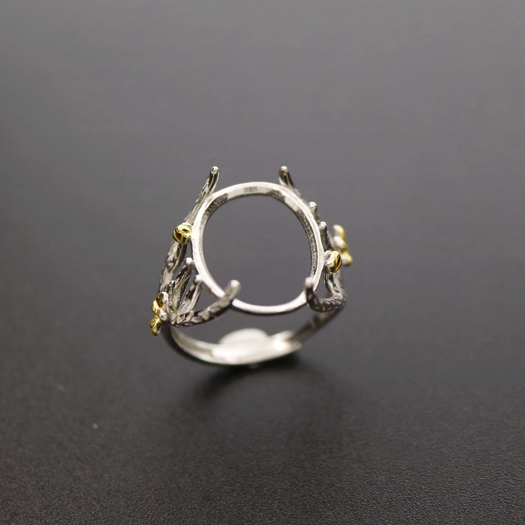 13x18MM Gold Flower 925 Sterling Silver Tree Branch Oval Cabochon Bezel Adjustable Ring Settings DIY Jewelry Supplies 1223087