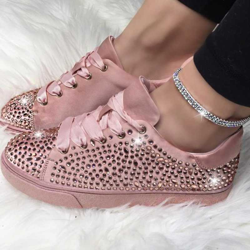 Litthing  Women Bling Sneakers 2020 Spring Casual Flat Ladies Vulcanized Shoes Crystal Fashion Outdoor Running Sparkling Shoes