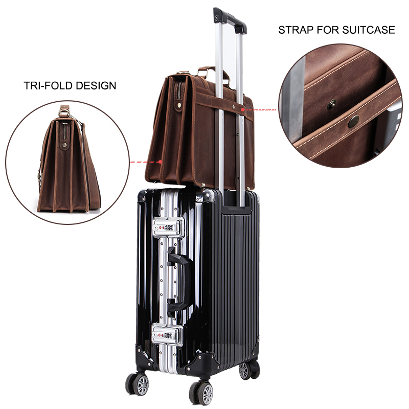 CONTACT'S Men's Bag Crazy Horse Leather Briefcase Men Business Bag For 14 3