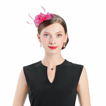 Fedoras Hat Red Fascinator For Women Elegant Church Linen Wedding Cap Flower Feathers Headwear Party Headband Hair Accessories