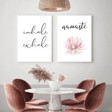 Namaste Lotus Print Zen Yoga Wall Art Canvas Painting Picture Inhale Exhale Modern Minimalist Poster Home Room Wall Decoration