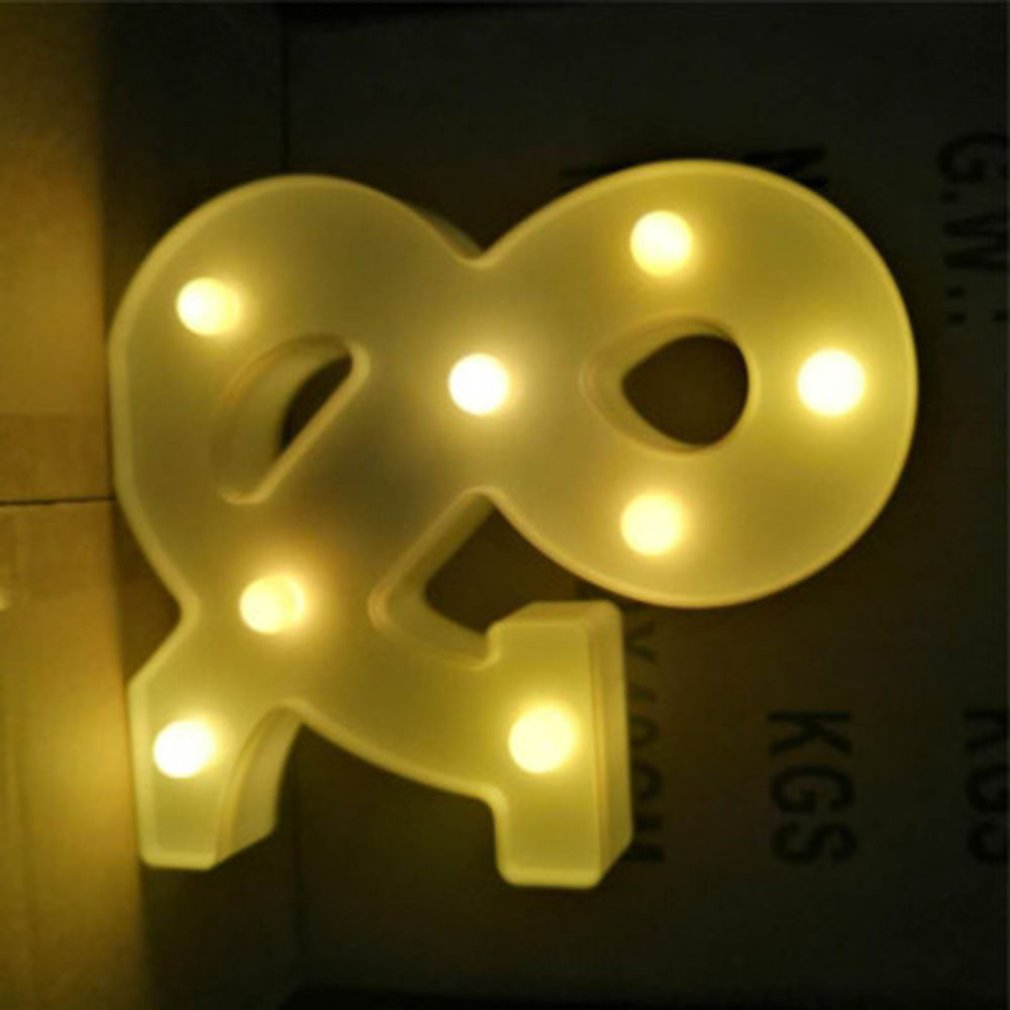 English Letter Led Light Night Luminous Light Alphabet Number Battery Lamp Romantic Wedding Decoration Light