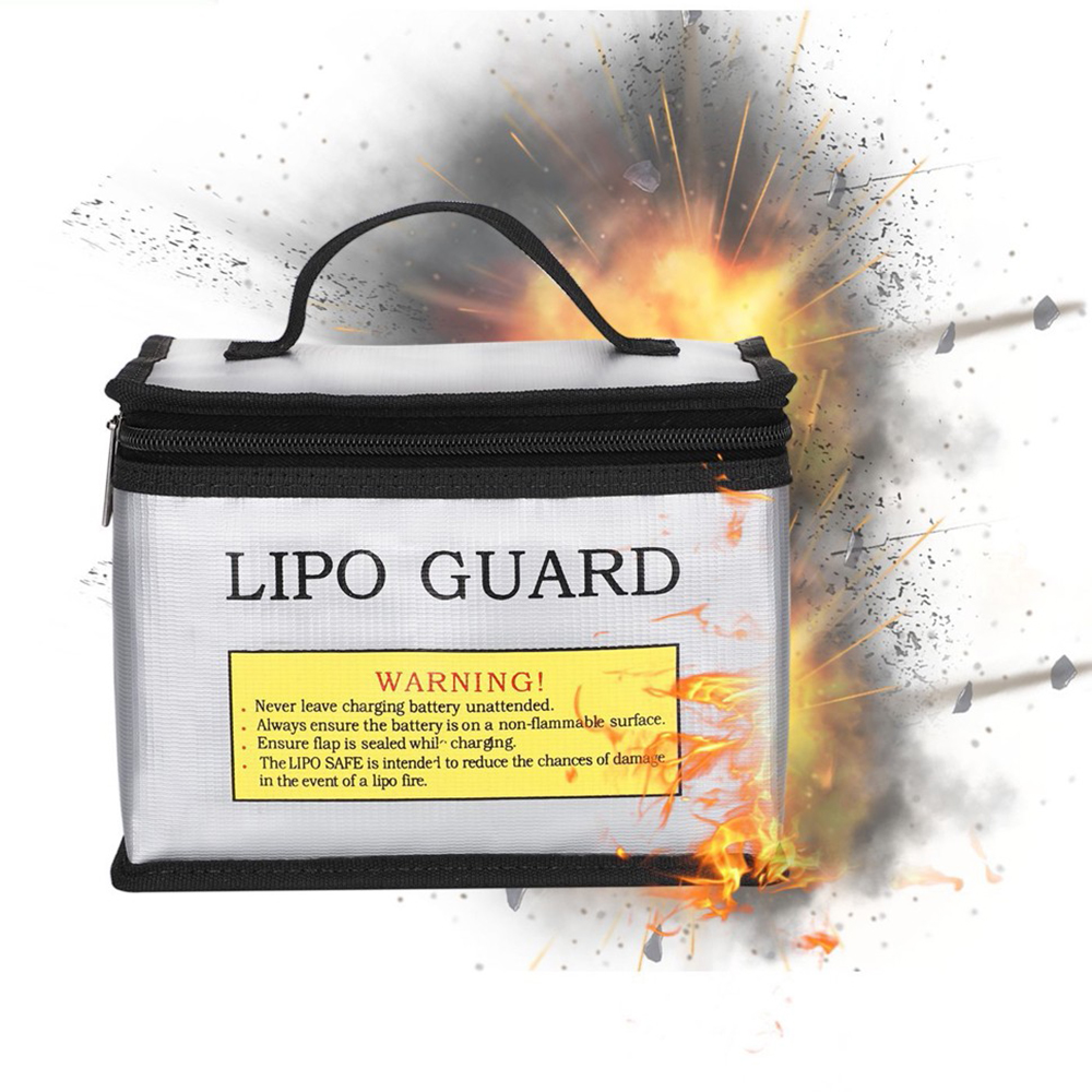 Lithium Battery Zipper Fire-Proof Explosion-Proof Safe Bag With Handle Design - Silver