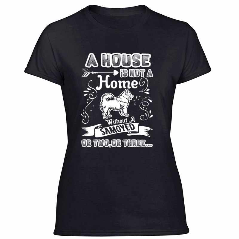 Pribadi Kasual Lucu Rumah Tanpa Samoyed T Shirt Pria dan Wanita Tshirts Ukuran Besar 3XL 4XL 5XL Kaos HIPHOP atasan