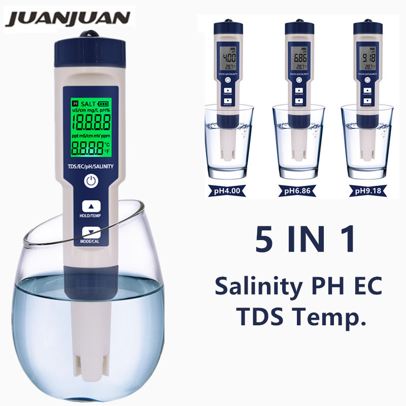 5 In 1 Digital PH TDS EC Meter Salinity Temperature Tester Conductivity Water Filter Purity Pen With Backlight 50%off