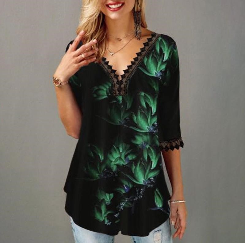 Plus Size 5x Pullovers Blouse shirt Boho Print Lace Splice Women's Tops V-neck Loose 2020 Casual Summer New Female Tee Shirt(China)