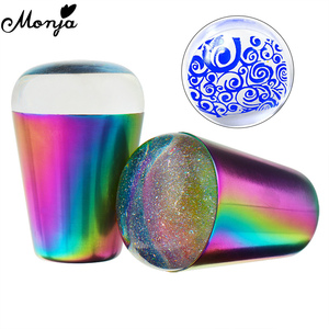 Monja 2 Styles Holographic Handle Nail Art Jelly Silicone Stamper With Cap Transfer Stamping Plate DIY Manicure Tool Kit