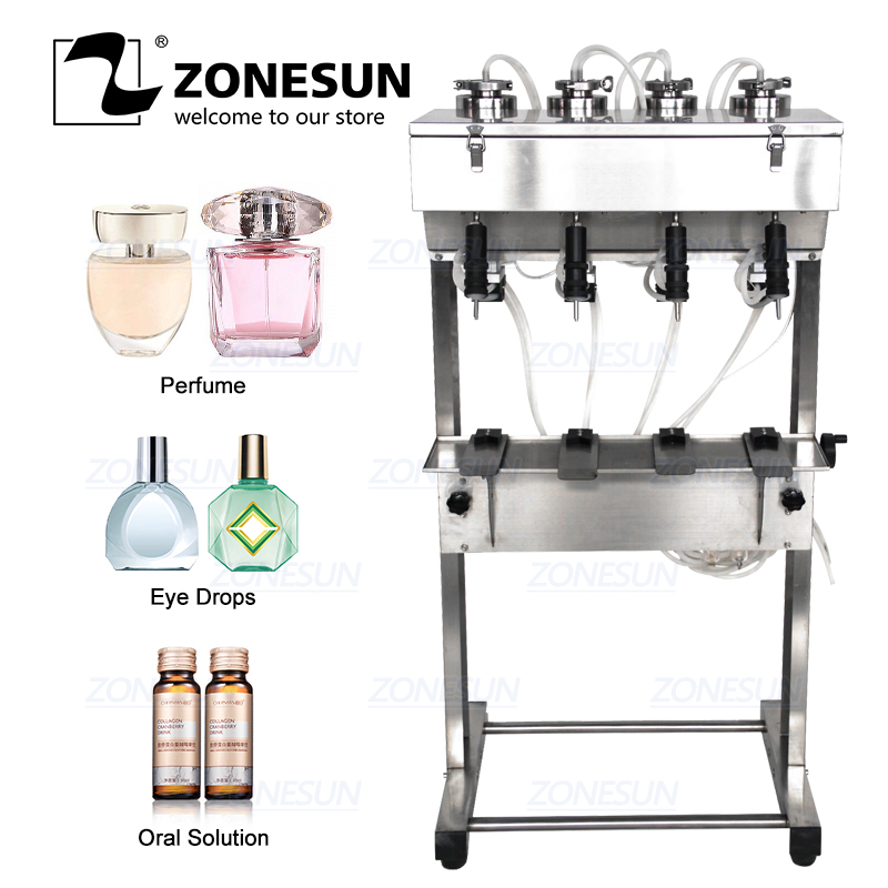 ZONESUN Vacuum Liquid Perfume Filling Machine Milk Water Eyewash Cosmetics Beverage Pneumatic Filler Bottle Filling Equipment