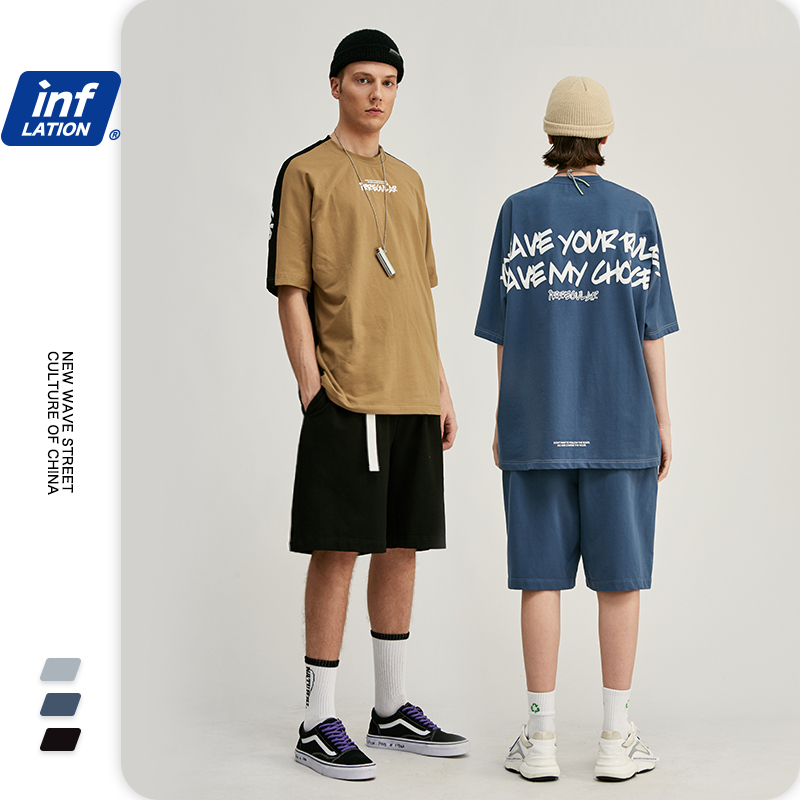 INFLATION Men Streetwear Oversized Suit Mens Tracksuit Short Sleeve Mens Summer Tshirt Elastic Waist Men Casual Short