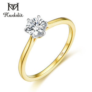 Image 2 - Kuololit Solid 10K Yellow gold Natural moissanite Rings for Women VVS D color Solitaire  set ring for anniversary wedding  585