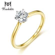 Kuololit Solide 10K Gelb gold Natürliche moissanite Ringe für Frauen VVS D farbe Solitaire set ring für jahrestag hochzeit 585