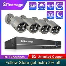 Sistema de seguridad CCTV IP con registro de audio para exteriores, conjunto de videovigilancia P2P, kit de cámara de 1080P y 2MP, 8CH, POE, H.265, AI, NVR, impermeable