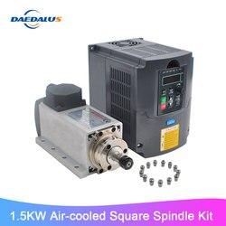 1.5KW chłodzony powietrzem trzpień CNC kwadratowy silnik wrzeciona routera + 110V 220V VFD konwerter falownika 13 sztuk ER11 tuleja zaciskowa do frezowania
