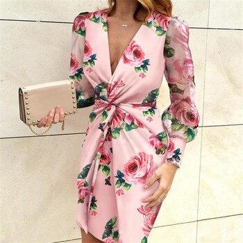 Women Plus Size Dress Mesh Sleeve Fashion V-Neck Bodycon Dress Ruffles Pleated Elegant Long Sleeve Evening Party Dress Vestidos 2