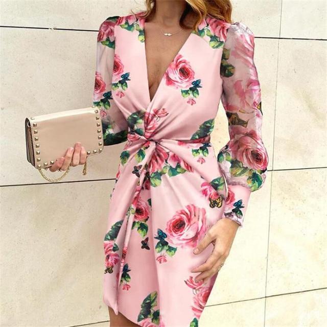 Mesh Sleeve Fashion V-Neck Pleated Elegant dress 2