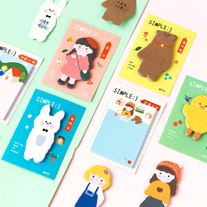 Girl World Series Sticky Notes Memo Pad Diary Stationary Flakes Scrapbook Decorative Kawaii Rabbit Bear Chicken N Times Sticky