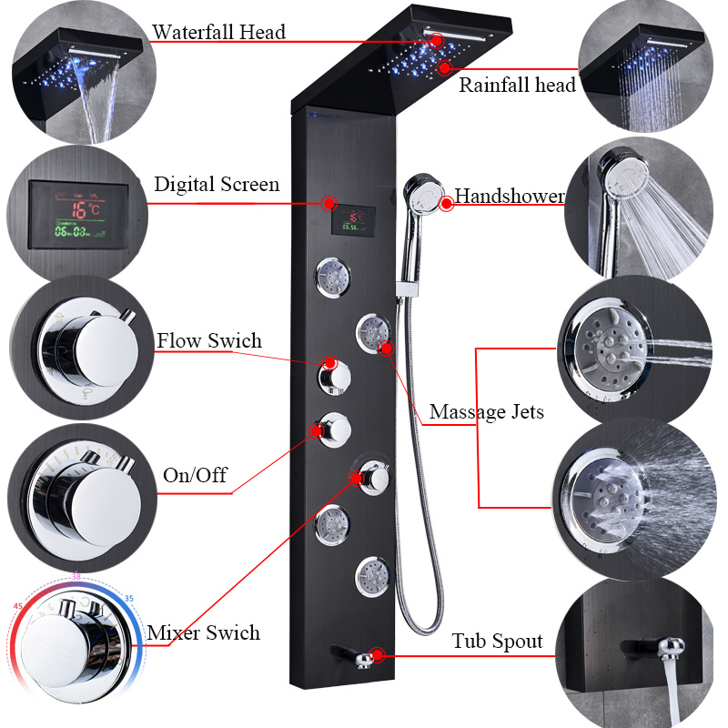 H11f05d70be104750b2a4f5c990087caff Newly Luxury Black/Brushed Bathroom Shower Faucet LED Shower Panel Column Bathtub Mixer Tap With Hand Shower Temperature Screen