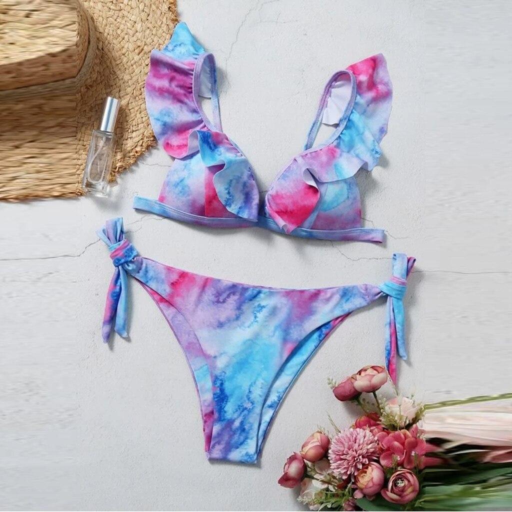 Sexy Tie-Dye Print Bikinis Striped Swimsuit Women Micro Bikini Set Swimwear Brazilian Beachwear New Bathing Suit купальник 2