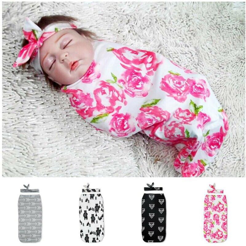 US Newborn Baby Girl Boy Swaddle Wrap Blanket Muslin Floral Sleeping Bag+Hat Set