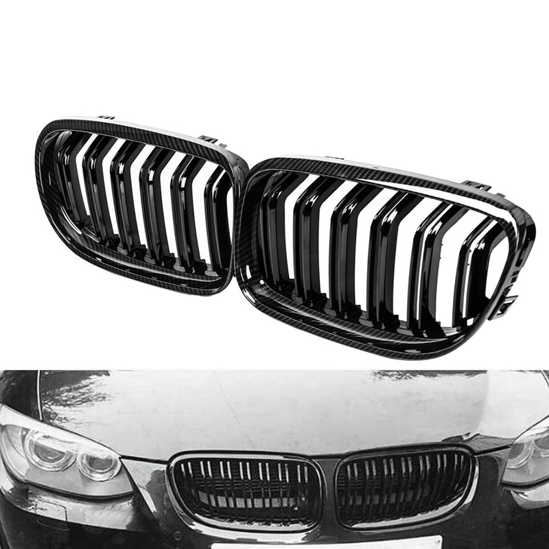 NEW-Car Carbon Fiber Glossy Black Double Slat Front Kidney Grille Grill for-BMW E90 E91 LCI 3 Series 2009-2011 image