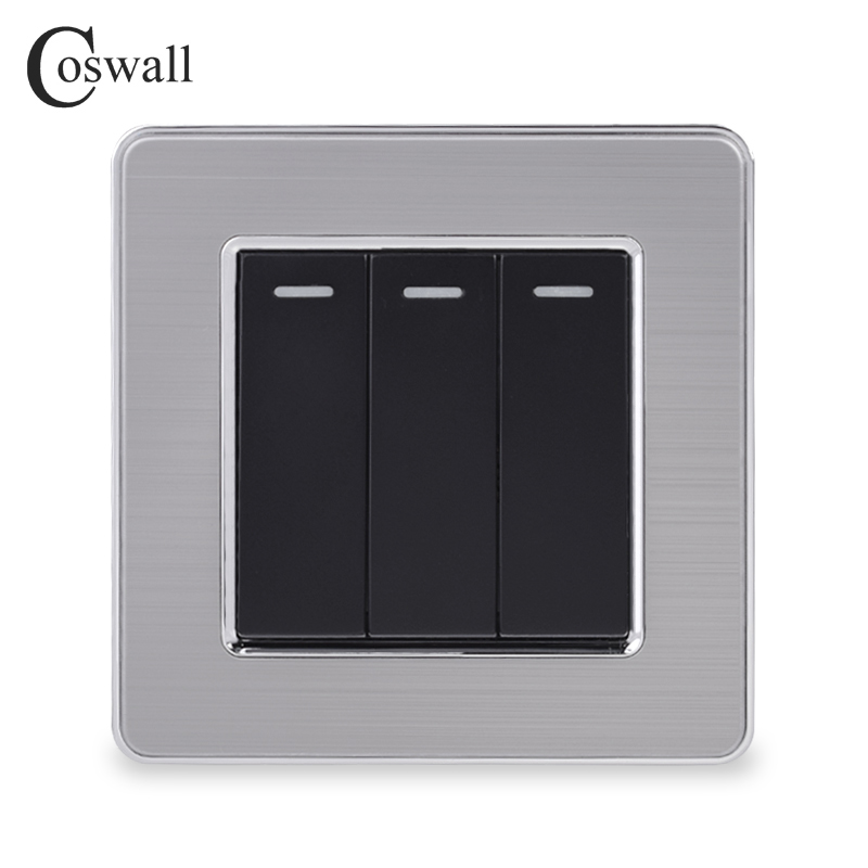 Coswall Luxury Stainless Steel Panel 3 Gang 2 Way On / Off Light Switch <font><b>16A</b></font> Pass Through Wall Switch AC 110~<font><b>250V</b></font> image