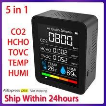 Medidor de CO2 portátil, medidor Digital de temperatura y humedad, Monitor de calidad del aire, Detector de HCHO de formaldehído TVOC