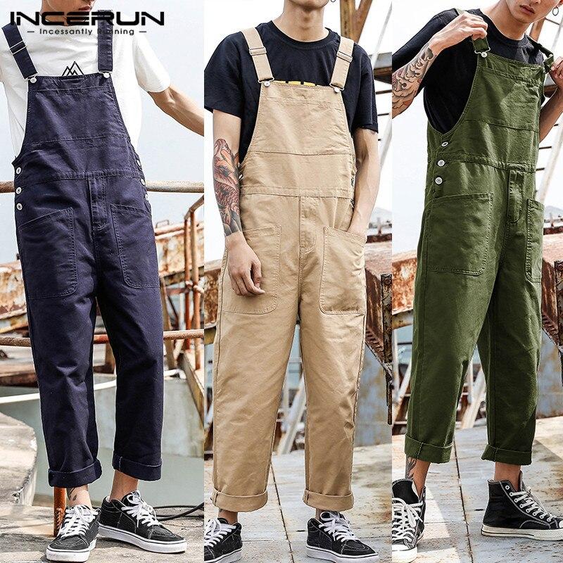 INCERUN Fashion Men Bib Pants Solid Color Jumpsuits Joggers Streetwear Casual Multi Pockets Suspenders Cargo Overalls Men Romper