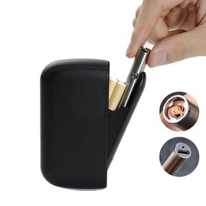 PU leather cigarette case elegant and compact with lighter 6 colors men women coarse fine smoke windproof 20 hold cigarette case