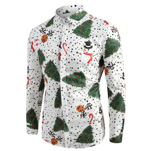 2019 Casual Print Long Sleeve Shirt Men Streetwear Summer Christmas Beach Male Fashion Loose Shirts Mens D30