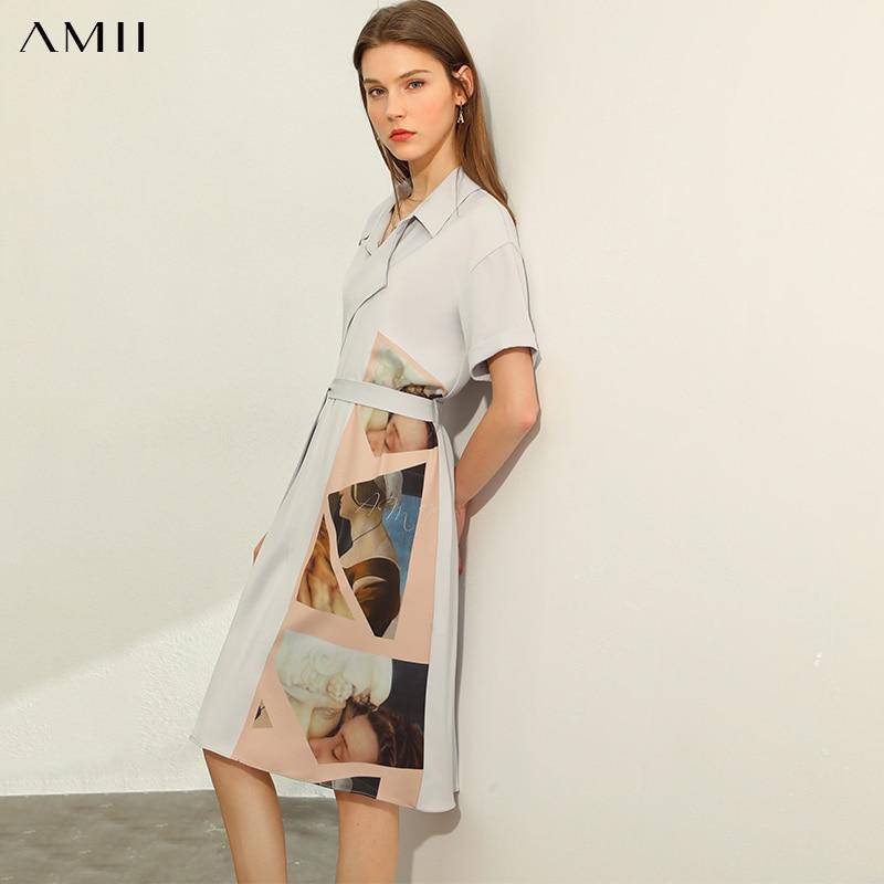 AMII Minimalism Spring Summer Causal Vintage Print Woemen Dress Lapel High Waist Belt Knee-length Female Dress 12040309