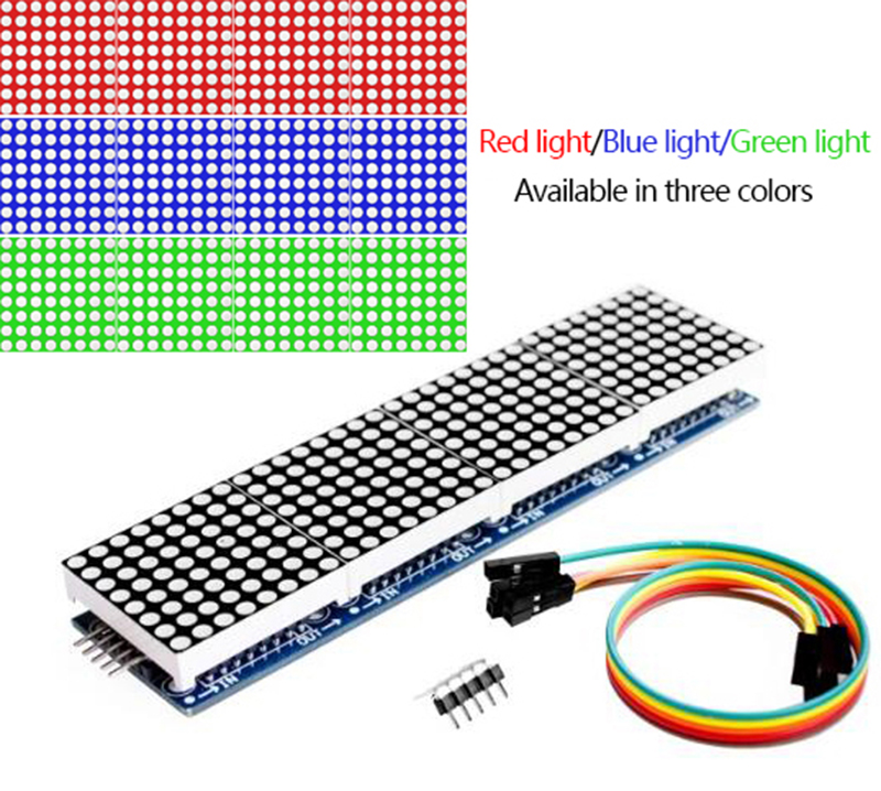 Модуль точечной матрицы Max7219, одночиповый микрокомпьютер, 4-в-1 дисплей, отправка линии 5P (H6a4)