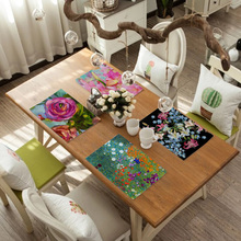 Flower Pattern Dining Table Decoration Placemat Kitchen Printed Fabric Mat Linen Heat Insulation Coaster Tableware Pad